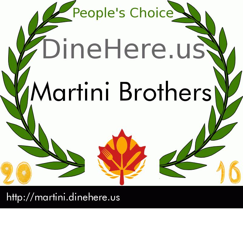 Martini Brothers DineHere.us 2016 Award Winner